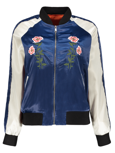 Floral Letter Embroidered Bomber Jacket - Blue