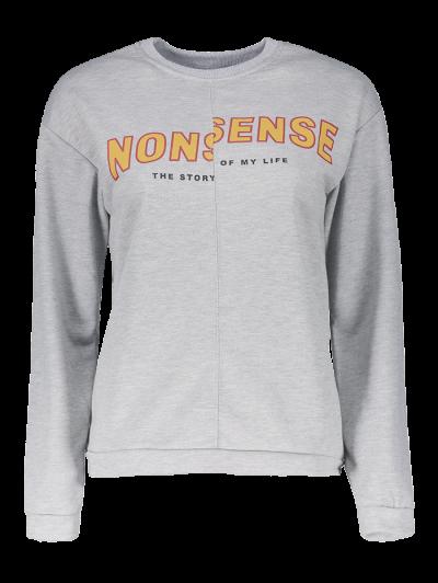 Nonsense Crew Neck Sweatshirt - GRAY M Mobile