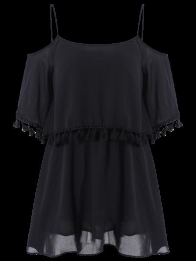 Tassel Cold Shoulder Popover Slip Dress - BLACK L Mobile
