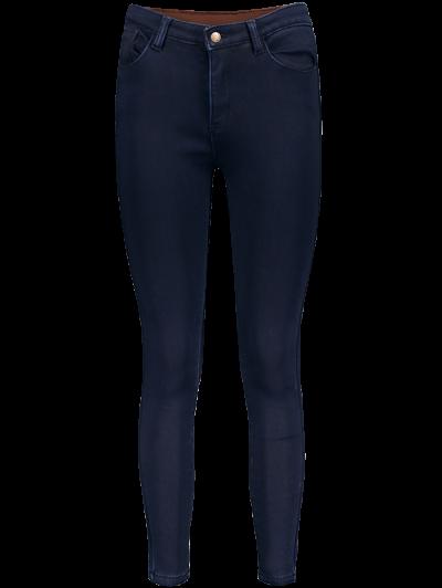 Super Elastic Wool Blend Pencil Jeans - DEEP BLUE 3XL Mobile