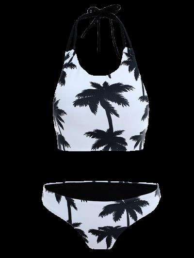 Coconut Palm Pattern High Neck Bikini - WHITE XL Mobile