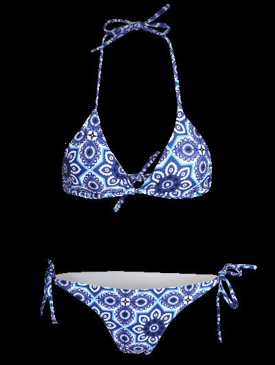 Halter String Ethnic Printed Bikini Set - BLUE L Mobile