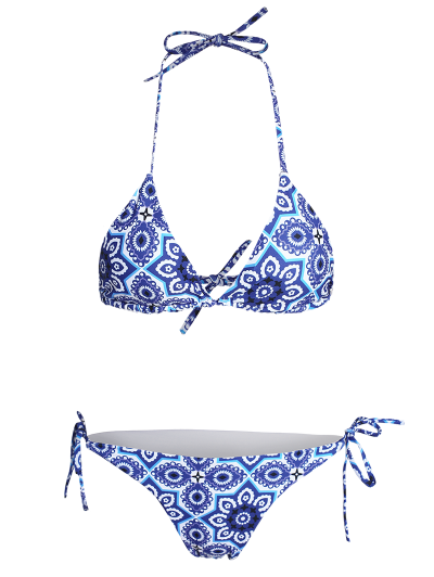 Halter String Ethnic Printed Bikini Set - BLUE S Mobile