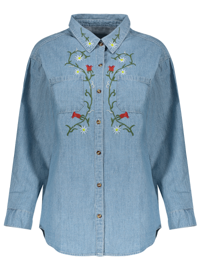 Flower Embroidered Pockets Denim Shirt - LIGHT BLUE M Mobile