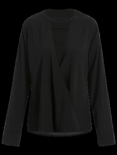 Chiffon Crossover Choker Blouse - BLACK XL Mobile