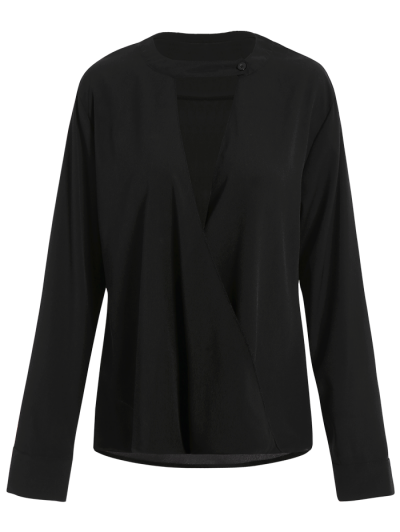 Chiffon Crossover Choker Blouse - BLACK M Mobile