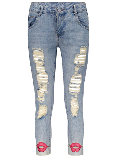 Red Lips Ripped Jeans - LIGHT BLUE 28 Mobile