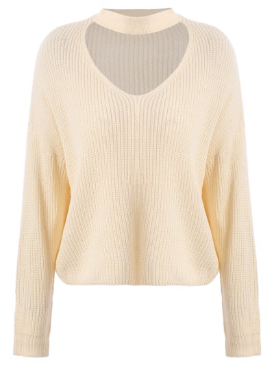 Cutout V Neck Choker Sweater - OFF-WHITE ONE SIZE Mobile