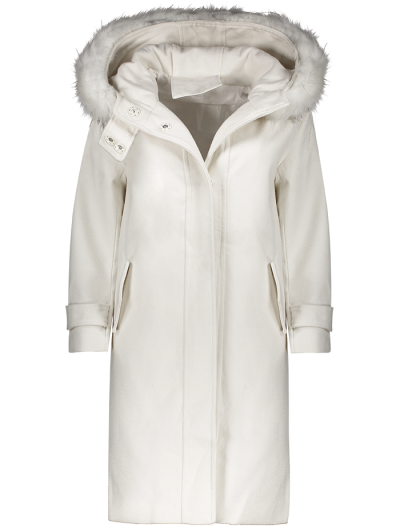 Fur Hooded Woolen Coat - OFF-WHITE XL Mobile