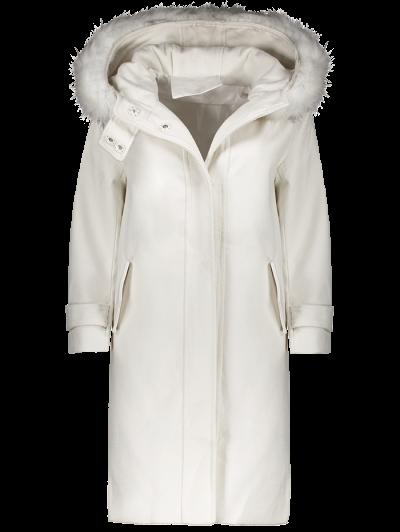Fur Hooded Woolen Coat - OFF-WHITE S Mobile