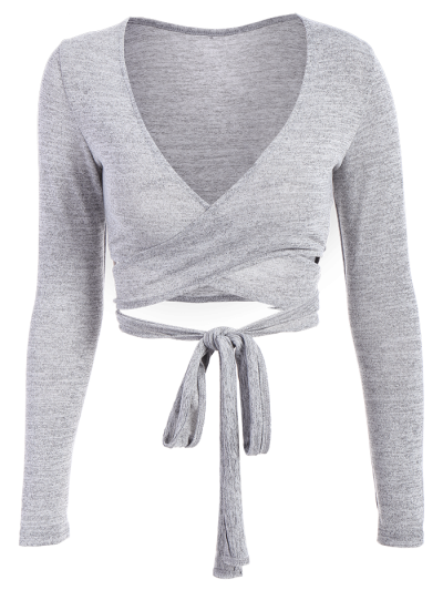 Long Sleeved Cropped Wrap Top - GRAY M Mobile