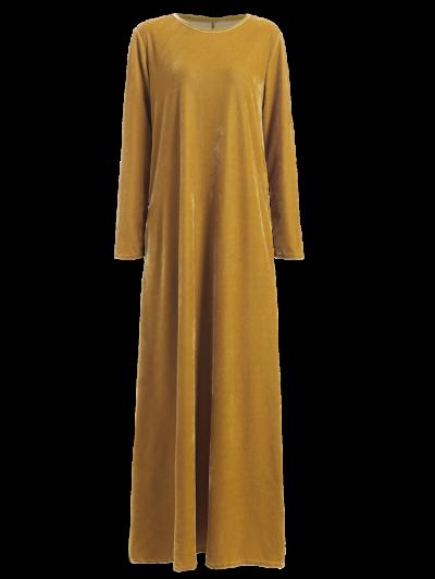 Velvet Long Sleeve Maxi Dress - EARTHY S Mobile