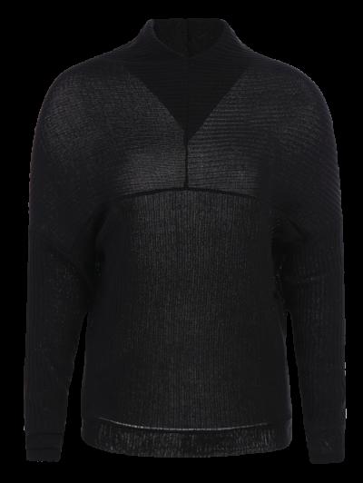 High Neck Batwing Sleeve Jumper - BLACK M Mobile