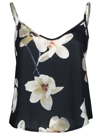 Adjusted Floral Satin Camisole - BLACK S Mobile