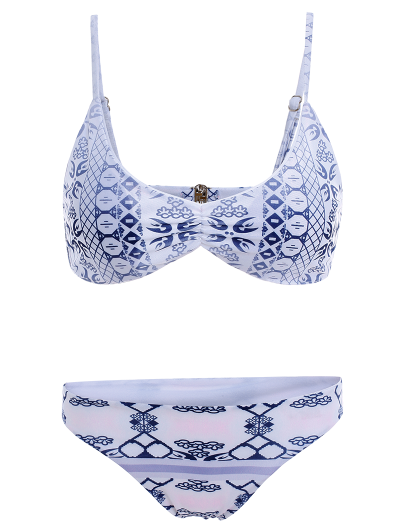 Blue and White Porcelain Cami Bikini - BLUE AND WHITE S Mobile