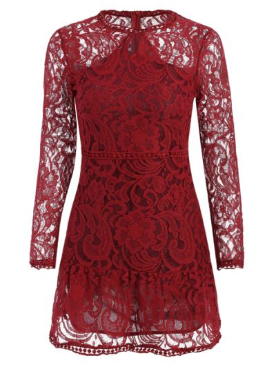 Openwork Long Sleeve Lace Mini Dress - RED XL Mobile