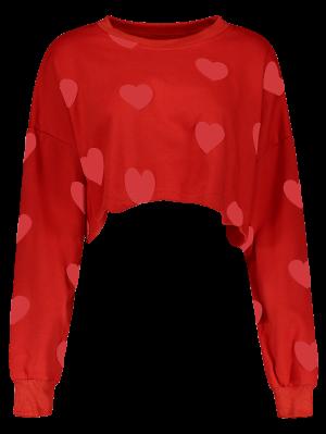 Heart Print Cropped Sweatshirt - Red