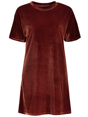 Velvet Mini Shift Layering Dress - Burgundy