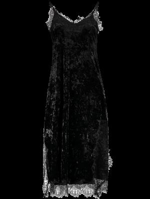 Lace Trim Velvet Cami Dress - Black
