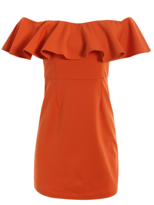 Off The Shoulder Ruffles Bodycon Dress - Orange Red