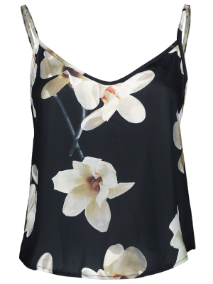 Adjusted Floral Satin Camisole - Black