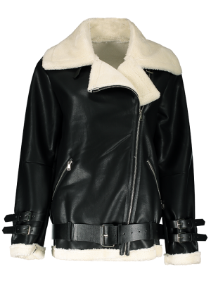 Lapel Faux Shearling Biker Jacket - Black