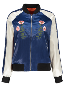 Floral Letter Embroidered Bomber Jacket - Blue L