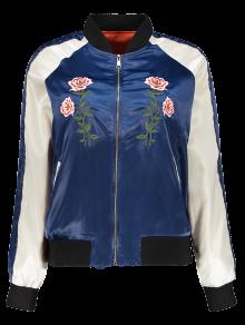 Floral Letter Embroidered Bomber Jacket