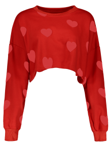 Heart Print Cropped Sweatshirt - Red