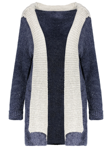 Hooded Faux Twinset Cardigan - Purplish Blue M