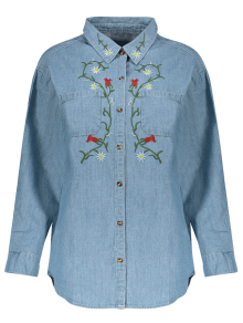 Flower Embroidered Pockets Chambray Shirt