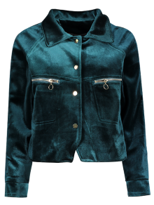 Graphic Embroidered Zipper Pocket Velvet Jacket - Blackish Green S