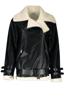 Lapel Faux Shearling Biker Jacket
