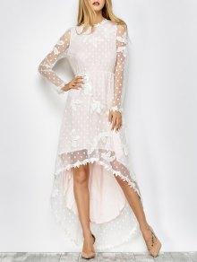 Embroidered Lacework Asymmetric Dress - White