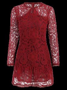 Mini robe en dentelle ajourée à manches longues - Rouge XL