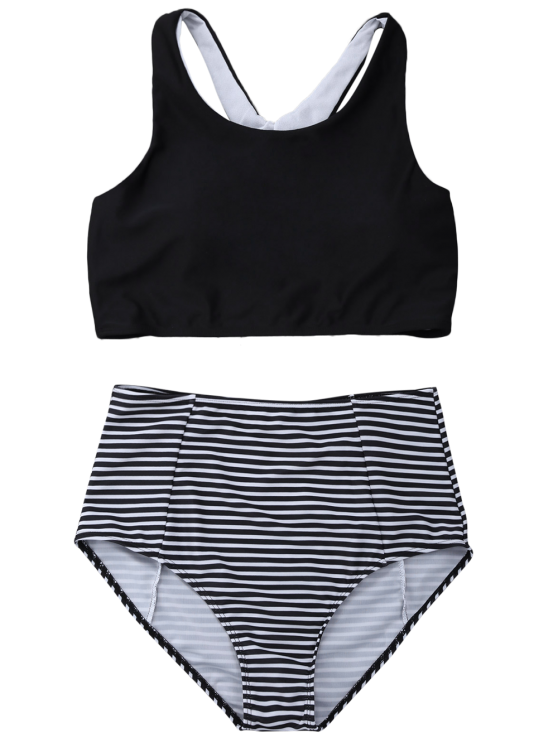 Striped High Waisted Bikini Set - BLACK L Mobile