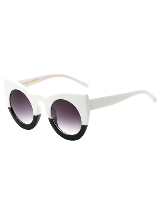 trendy Color Block Cat Eye Sunglasses - WHITE AND BLACK
