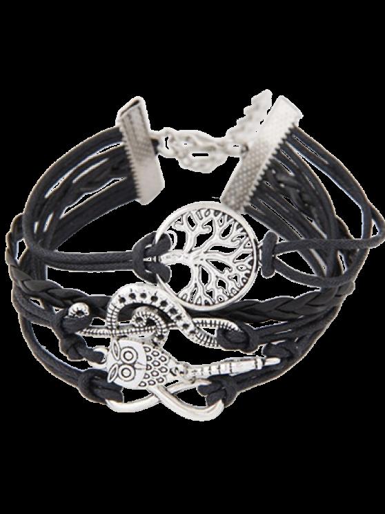 Tree of Life Owl Braided Bracelet - BLACK  Mobile