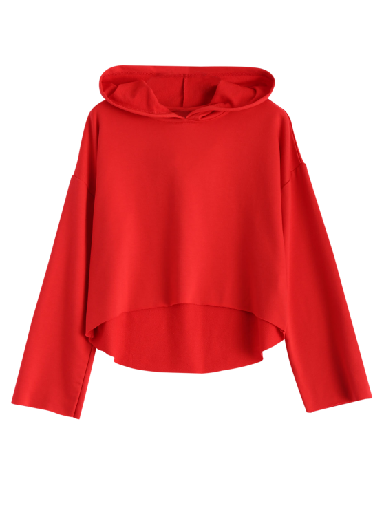 Cropped High Low Hoodie - RED XL Mobile