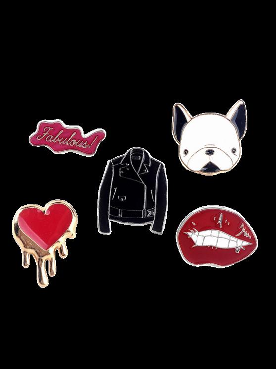 Dog Heart Lip Jacket Letters Brooch Set - RED  Mobile