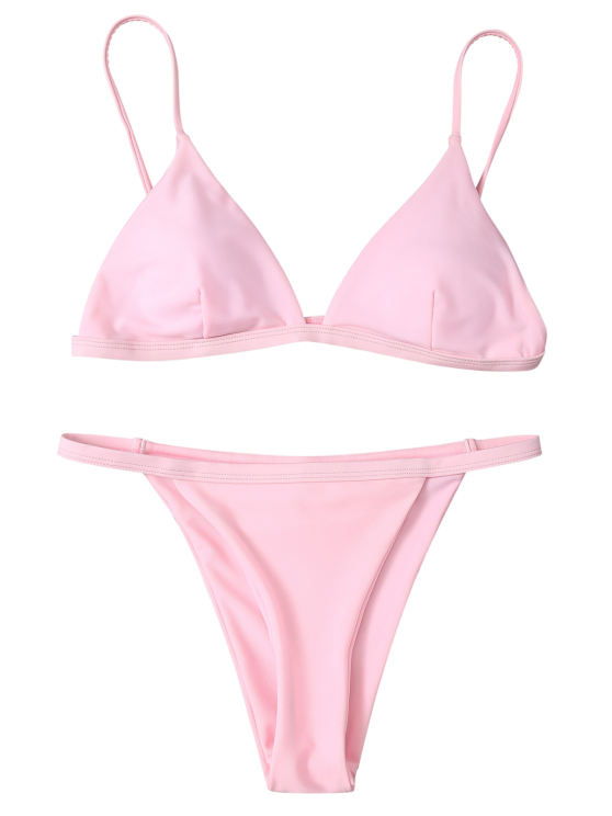 Low Waisted Spaghetti Strap Bikini Swimwear - PINK S Mobile