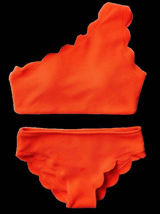 Wireless Scalloped One Shoulder Bikini - ORANGE RED S Mobile