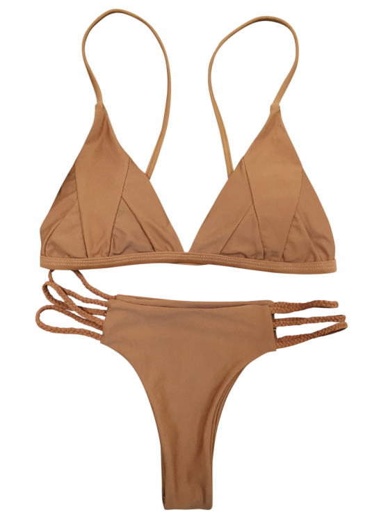 Padded Cami Bikini Set - COFFEE M Mobile