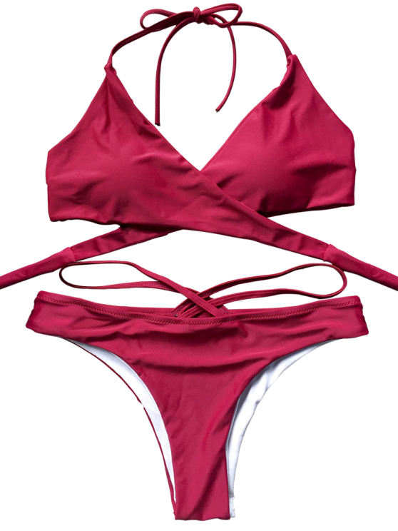Double Side Crossover Bikini Swimwear - RED L Mobile