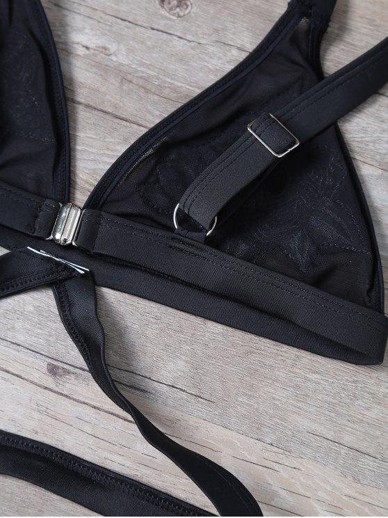 Sequined Floral Bralette Swimsuits - BLACK L Mobile