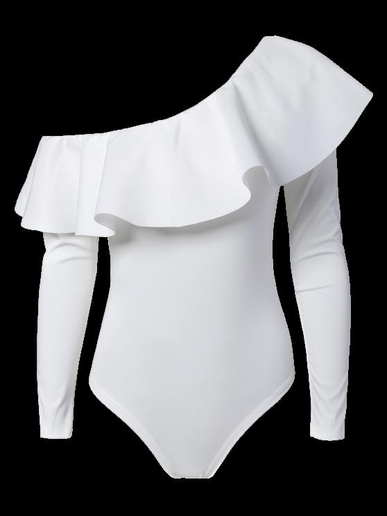 Ruffles Long Sleeve Skinny Bodysuit - WHITE L Mobile