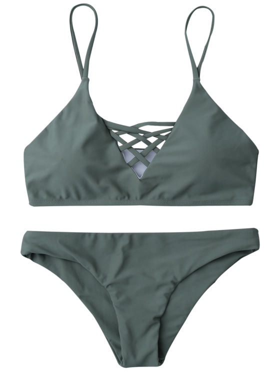Lace Up Bikini Top and Bottoms - ARMY GREEN M Mobile