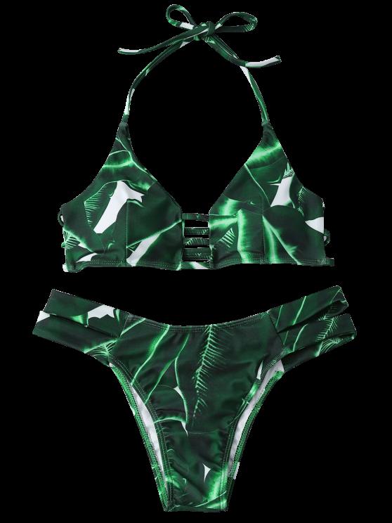 Green Banded Bikini Set - GREEN M Mobile