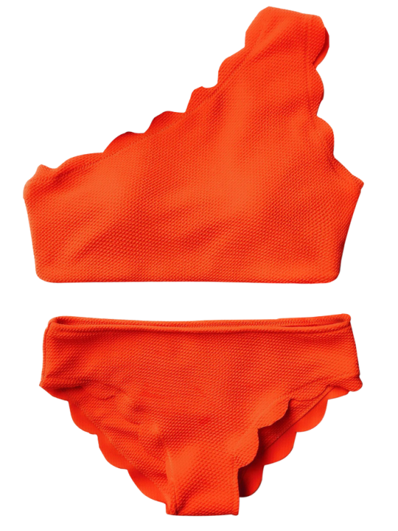 Wireless Scalloped One Shoulder Bathing Suit - ORANGE RED L Mobile