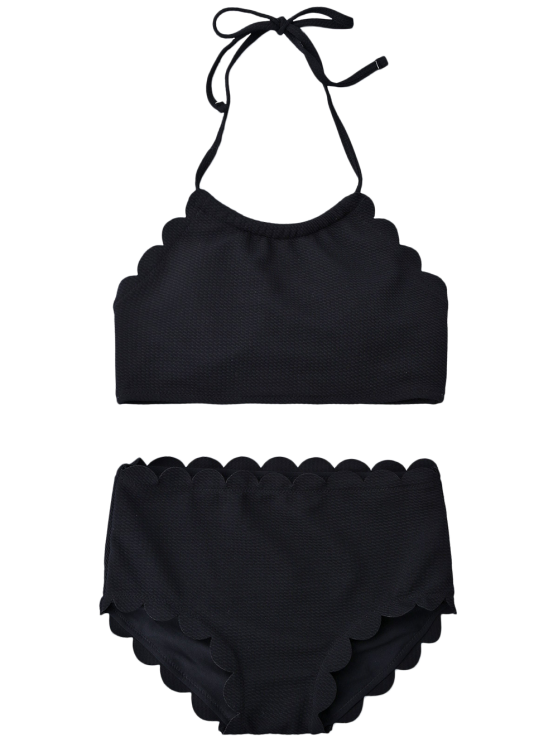 High Rise Halter Scalloped Bathing Suit - BLACK L Mobile